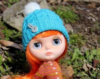 Blythe blue hat Crochet hat for doll Blue doll hat Blythe accessoire Doll crochet clothing
