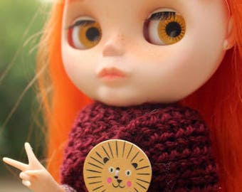 Wine scarf with leo-button for Blythe, Azone Pure Neemo