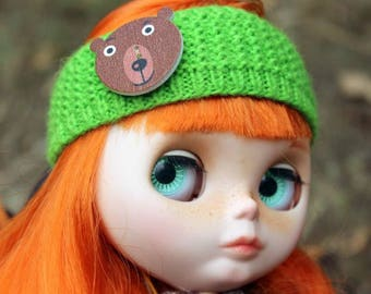 Green head-band with bear-button for Blythe, Azone Pure Neemo
