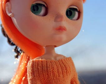 Blythe orange knitted dress Doll  knitted outfit Doll knitwear Blythe outfit Doll knit clothing