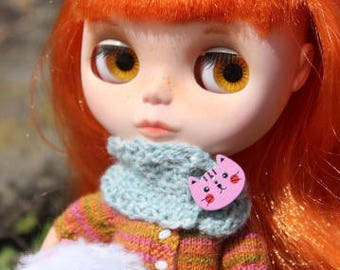 Tweed scarf with cat-button for Blythe, Azone Pure Neemo