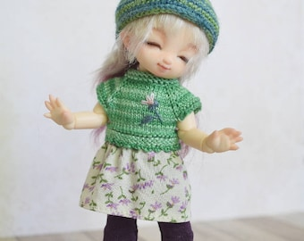 Pukipuki clothes: Green knitted dress, leggings, hat. Fits for brownie, 11cm obitsu