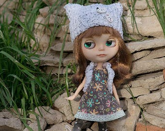 Cat hat and vest for Blythe