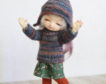 Pukipuki clothes: Multicolor knitted sweater, skirt, leggings, hat. Fits for brownie, 11cm obitsu