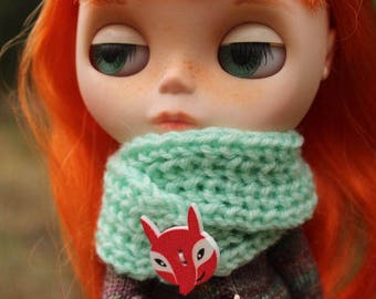 Green scarf with fox-button for Blythe, Azone Pure Neemo