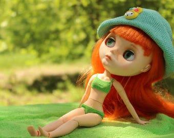 Blythe summer hat Crochet panama hat for doll Green doll panama Blythe accessoire Doll crochet clothing