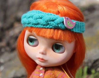Emerald head-band with bird-button for Blythe, Azone Pure Neemo
