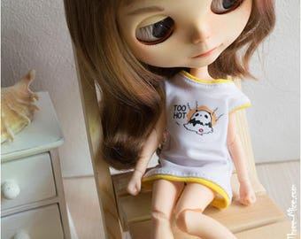 Blythe white tunic dress with panda Doll mini dress Short dress Azone pure neemo Blythe white yellow top T-shirt Blythe outfit