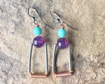Purple Agate Earrings,Dark Purple Earrings ,Dangle Earrings ,Purple gemstone earrings ,Copper wire earrings,copper wire wrapped jewelry,