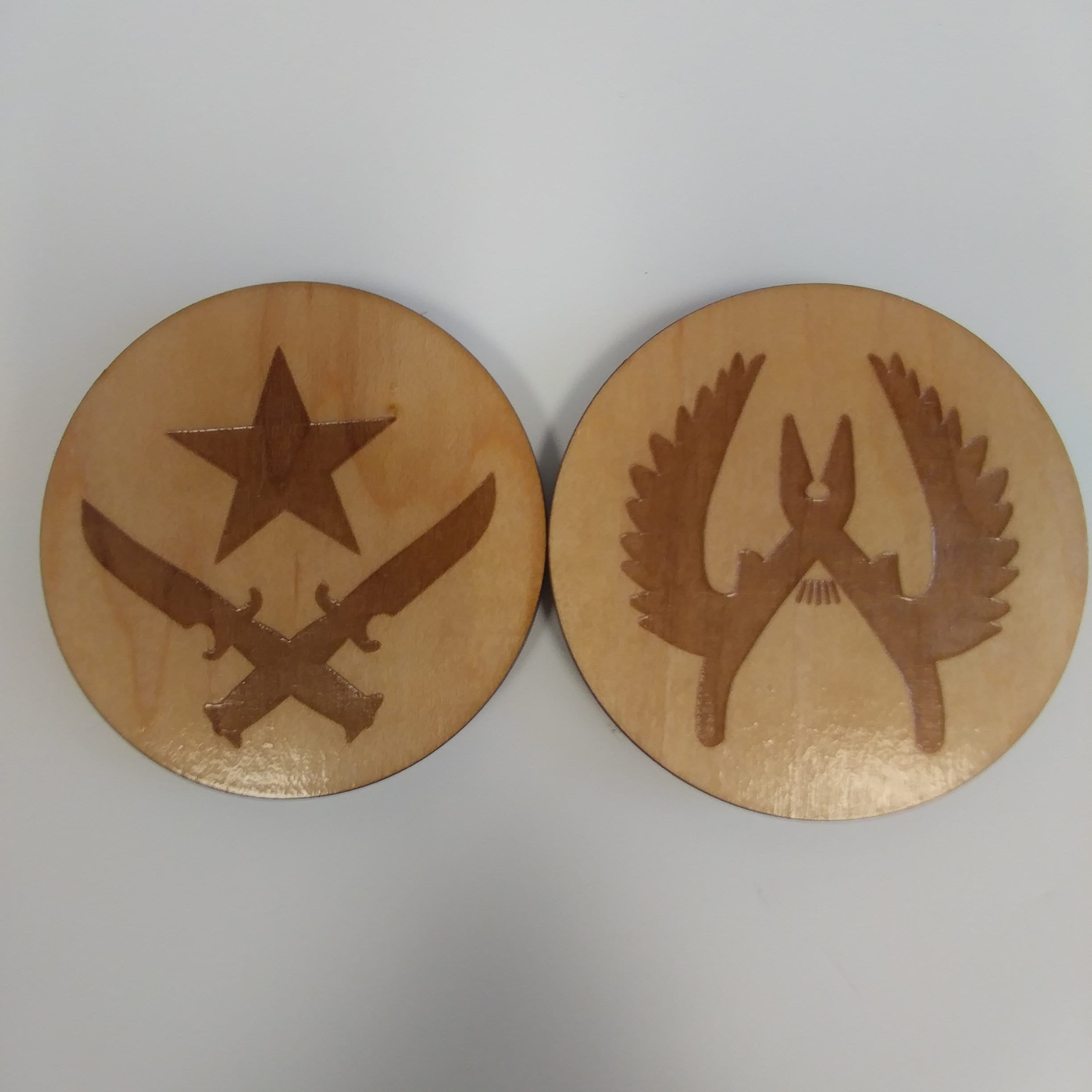 Wooden Coaster | Counter Strike CT Terrorist Laser Engrave Felt Bottom