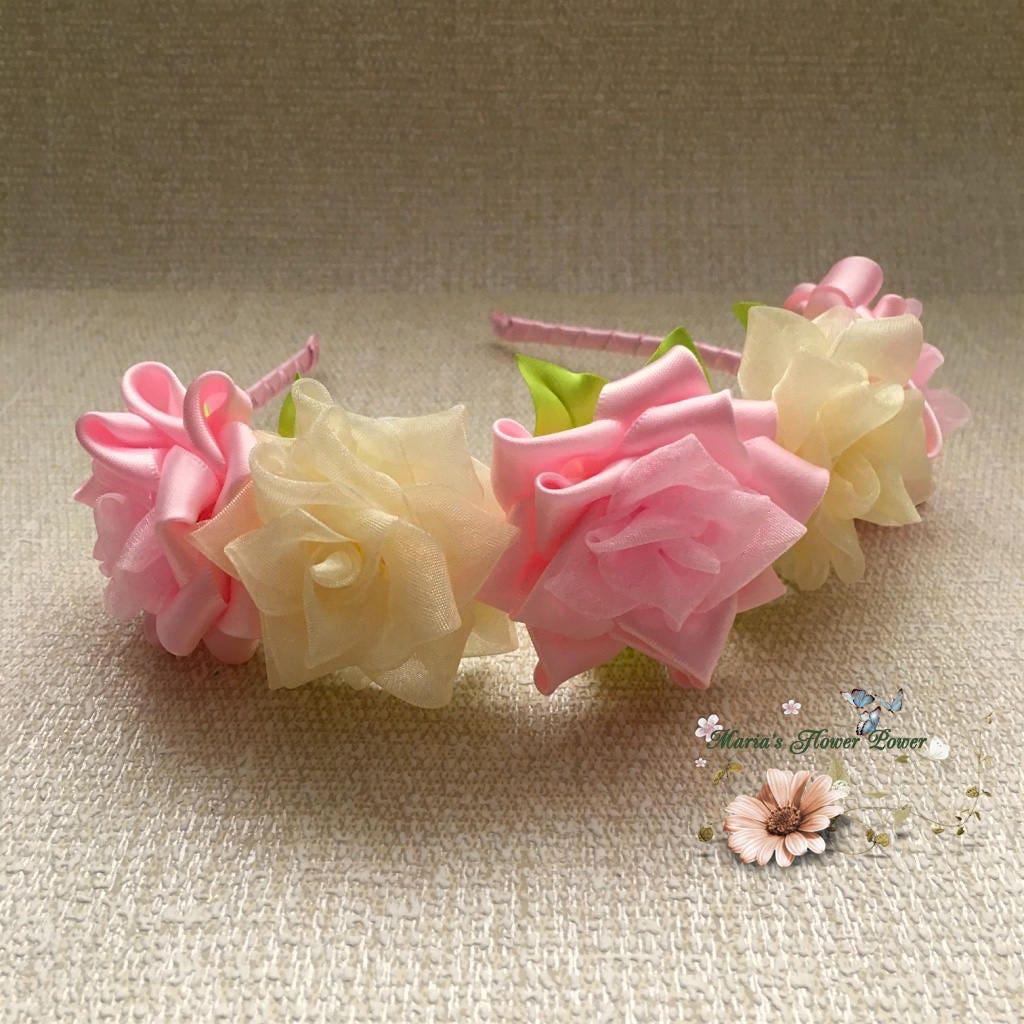 Kanzashi fabric flower headband floral bridal crown ladies women kanzashi fabric flower headband floral bridal crown ladies women girls pink ivory roses wedding hair fascinator accessory flower girl gift izmirmasajfo