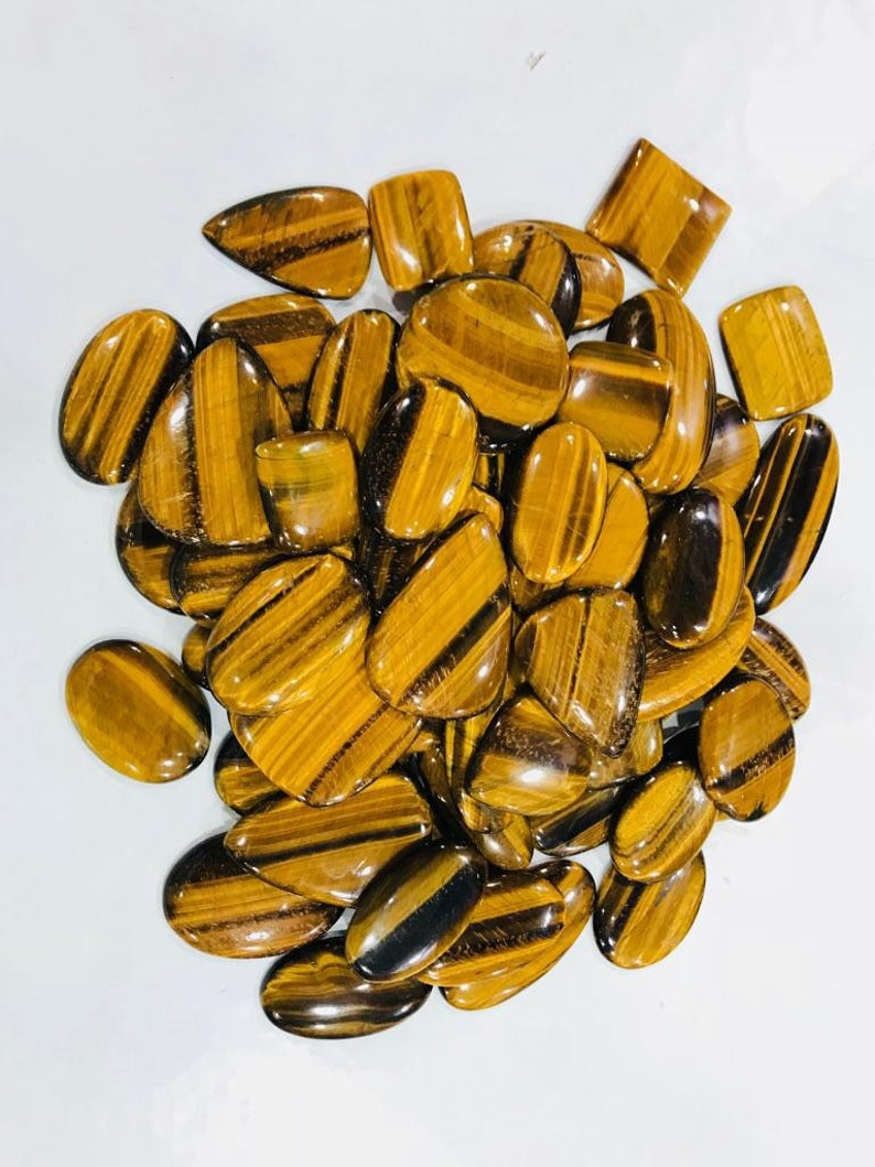 10 Piece Tiger Eye Faceted Round Cabochon Parcel 10m