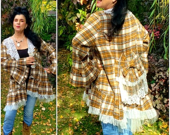 Victorian style Checked plaid lace cream and mustard jacket coat