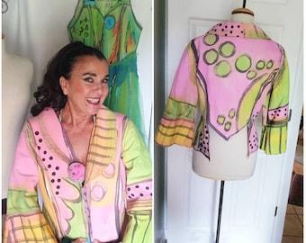 Pink and green polka dot Jacket. Denim art to wear. Canvas wearable art short coat. PINK BOLERO