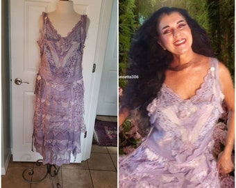 Lilac garden tea party dress. Whymsical lace and muslin dress lilac boho chic one of a kind