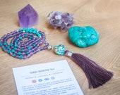 Mala Bead Necklace, Amethyst Mala Beads, Raw Turquoise Tassel Necklace, 108 Mala Necklace, Japa Mala Meditation Beads, Buddhist Prayer Beads