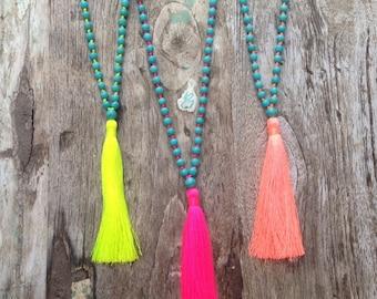 Neon Tassel Necklace, Howlite Mala Necklace, Hot Pink Tassel Necklace, Summer Necklace, Bead Necklace, 108 Mala Bead, Neon Pink Tassel