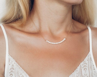 Delicate Pearl Bar Necklace - Gold Pearl Necklace -  Freshwater Pearl Necklace - Gold Layering Necklace - Wedding Necklace - Pearl Choker