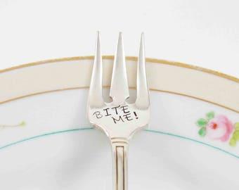 Appetizer Fork, Bite Me, Olive Fork, Pickle Fork, Appetizer Serving, Silver Plate Fork, Vintage Pickle Fork, Vintage Fork, Hand Stamped Fork