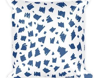 Coussin carré bleu motif 2. Coussin décoratif. Mélanger le coussin.