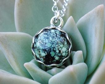 Trapeze pendant Gemstone pendant New Lander chalcosiderite necklace New Lander turquoise pendant New lander Sterling silver pendant