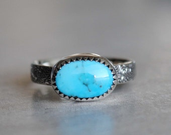 SIZE 6, Sleeping Beauty Turquoise Ring, Sterling Silver Sleeping Beauty Turquoise Jewelry