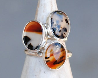 Montana Agate Ring - Sterling Silver Agate Ring - Montana Agate Jewelry (MADE TO ORDER)