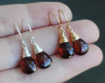 Garnet Earrings - Garnet Teardrop Earrings - Garnet Drop Earrings - Garnet Jewelry - January Birthstone Earrings