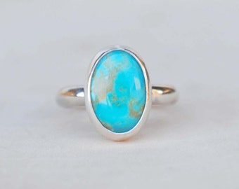 Turquoise Ring Sterling Silver - Silver Turquoise Ring - Turquoise Jewelry (MADE TO ORDER)