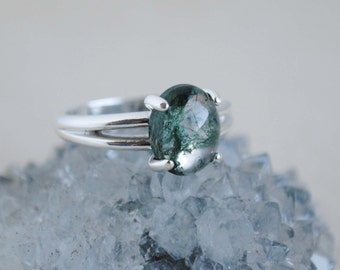 Moss Agate Ring - Sterling Silver Ring - Moss Agate Jewelry