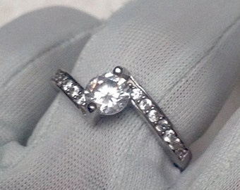 Engagemen Ring Vtg 80s Sterling Silver Ring by Fabiani- White Zircon Ring with a 5mm White Zircon with CZs accents stones