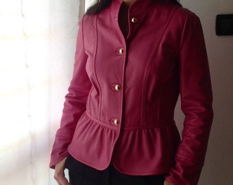 7fb4edbde43 Vtg 90s LUISA SPAGNOLI Gorgeous Pink Leather Perforated Jacket Made in Italy