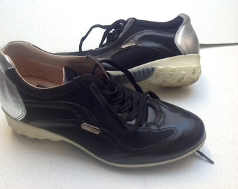 Vtg 90s Sneakers Cesare Paciotti 4US Woman's Shoes Black Leather and Fabric, Silver details EU 37