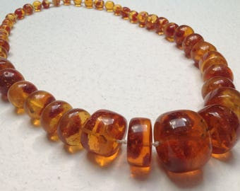 Vtg 80s Baltic Amber Butterscotch Translucent Necklace Amber Calibrated Beads 185 gram Coupon CODE1959 for free shipping