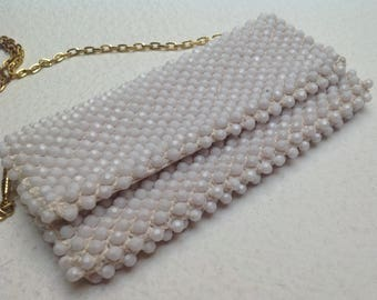 Vitg 60's Bridal Hand Beaded Mini Clutch Bag Shoulder Clutch, White Pearl Beaded clutch purse with chain