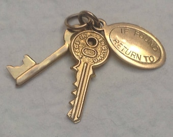 "Vtg 70s ""If found return to"" 9ct Gold 2 Keys And Label ""If found return to"" Charm"