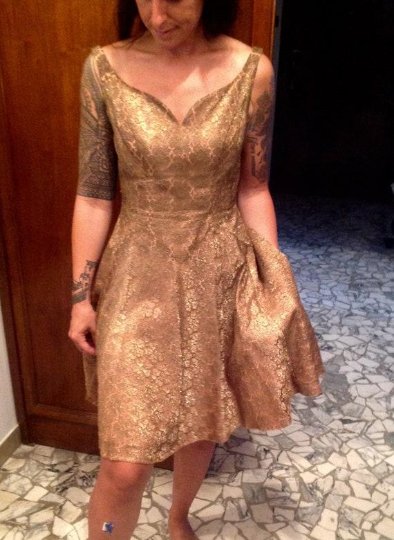 Rare Vtg 50s gold thread dress // 1950s gold spark