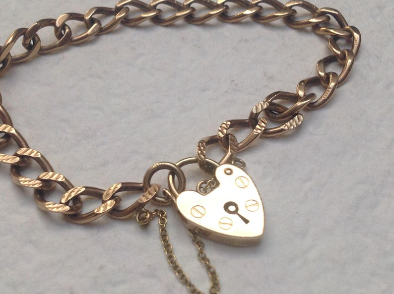 26915b7ec6c16 Engagement Vtg 9ct Gold Curb Charm Bracelet Heart Padlock - 10g Hallmarked  Coupon CODE1959 for free shipping