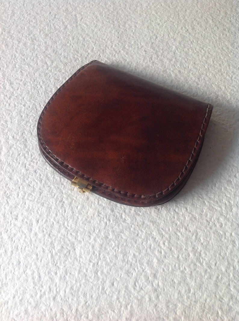 Vtg 70s Handmade Big Wallet with Gold tone Anchors Buckle Genuine Leather Billfold Boho Gift Rare