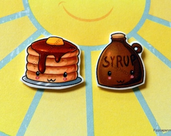 Handcrafted Kawaii Pancakes & Syrup Nickel Free Post Earrings Breakfast Flapjacks Pancake Syrup Kawaii Food