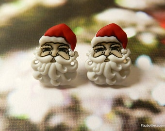 Santa Faces/St Nick Post Earrings Repurposed W/ Nickel Free Backs Christmas/Holiday Parties Jewelry