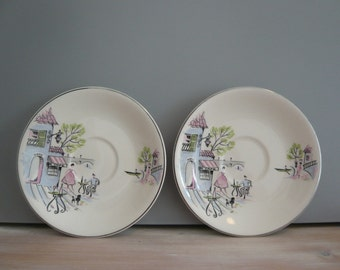 2 Saucers from Alfred Meakin Down By The Seine French Cafe Black Poodle Retro Vintage Mid Century 1950's