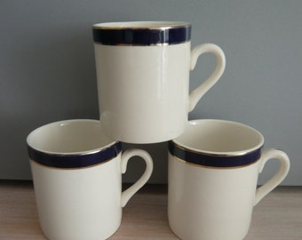 3 Queens Blue Solian Ware Coffee Cans made by Simpsons Potters Ltd 1940s Retro Vintage Mid Century