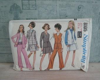 Simplicity Dressmaking Pattern 8105 Junior / Petites Jacket, Sleeveless Jacket, Skirt and Bell Bottom Pants Vintage 1970's