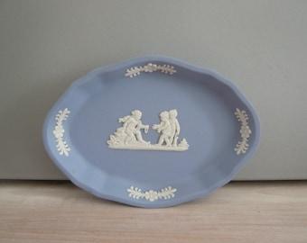 Blue & White Wedgwood Jasperware Porcelain Pin /Trinket Dish Retro Vintage Mid Century 1960's