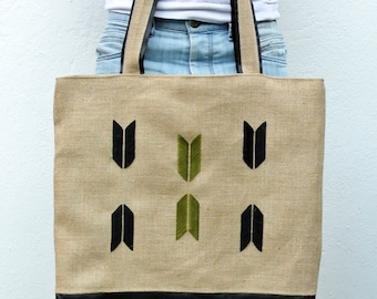 Oversized Tote bag with leather panel and hand embroidery
