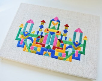 Wall art, colourful hand embroidery, landscape