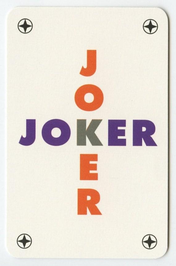 Karta Do Gry Joker Krzyzowka Etsy