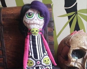 Goth Doll, Dark Rag Doll, Monster Doll, Handmade Voodoo Doll, Punk Rock Doll, Day of the Dead