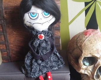 Goth Doll, Dark Rag Doll, Monster Doll, Handmade Voodoo Doll, Day of the Dead Doll, Ghoul